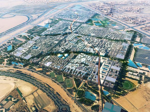 Artist Impression- Aerial View of Proposed Master plan of Masdar City (Eastern Orientation).