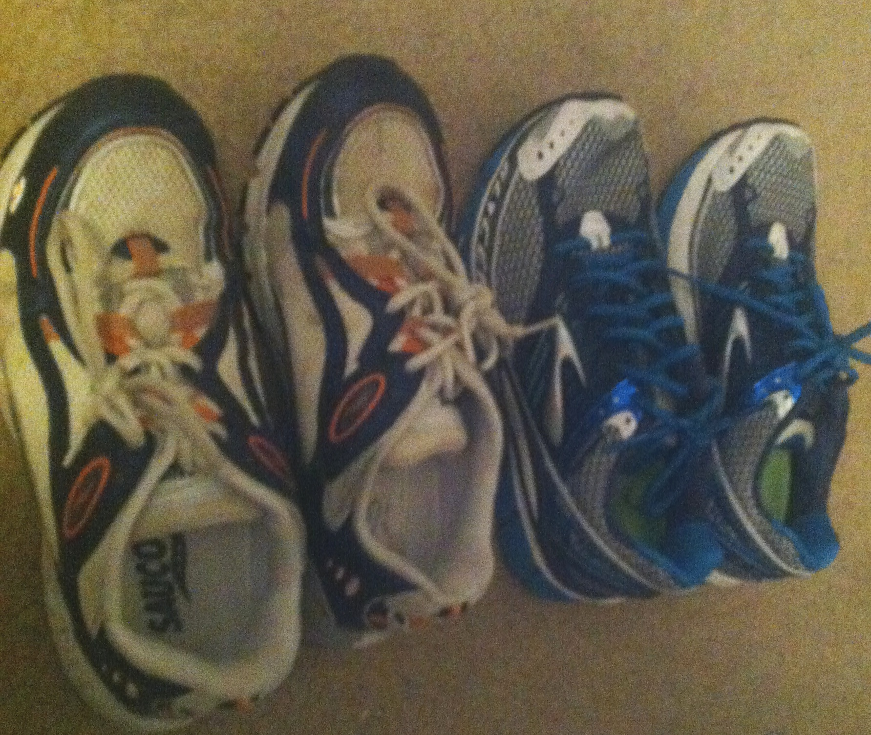 Old (left) and new (right) running shoes.