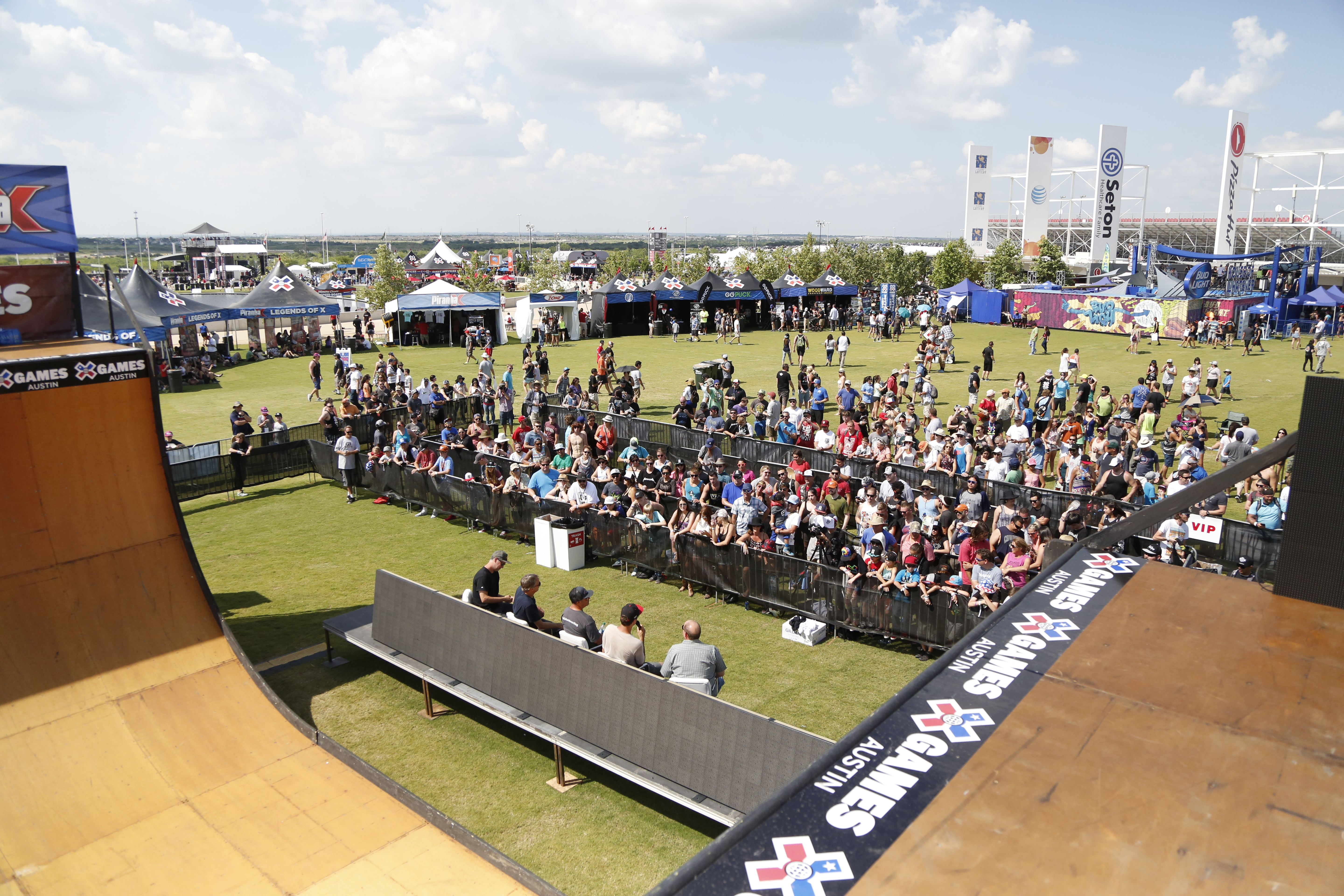 Aerial view of crowd at X Games vert ramp for Innoskate panel featuring Tony Hawk and Bob Burnquist