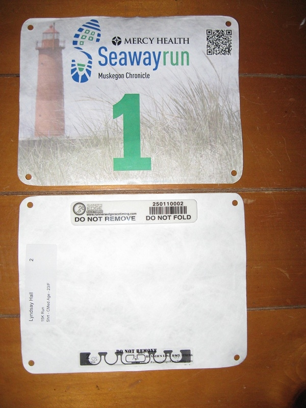 Race bib with built-in timing chip.