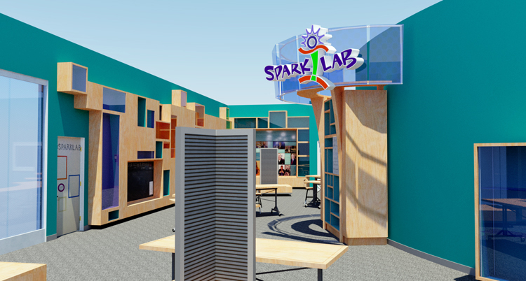 Rendered image from within a 3D model of Spark!Lab