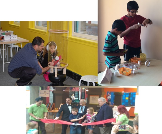 Father and daughter test prototype in wind tunnel, Indian boys build prototypes, officials cut ribbon opening new Spark!Lab